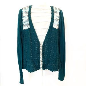 Free people Teal knitted cropped Cardigan size L